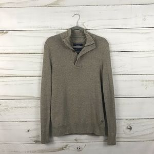 American Eagle Tan Gray Zip Pullover Sweater